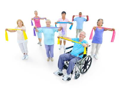 Exercise class of older adults with elastic resistance bands