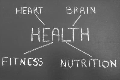 Chalkboard with word health in the centre and words heart, brain, fitness and nutrition surrounding